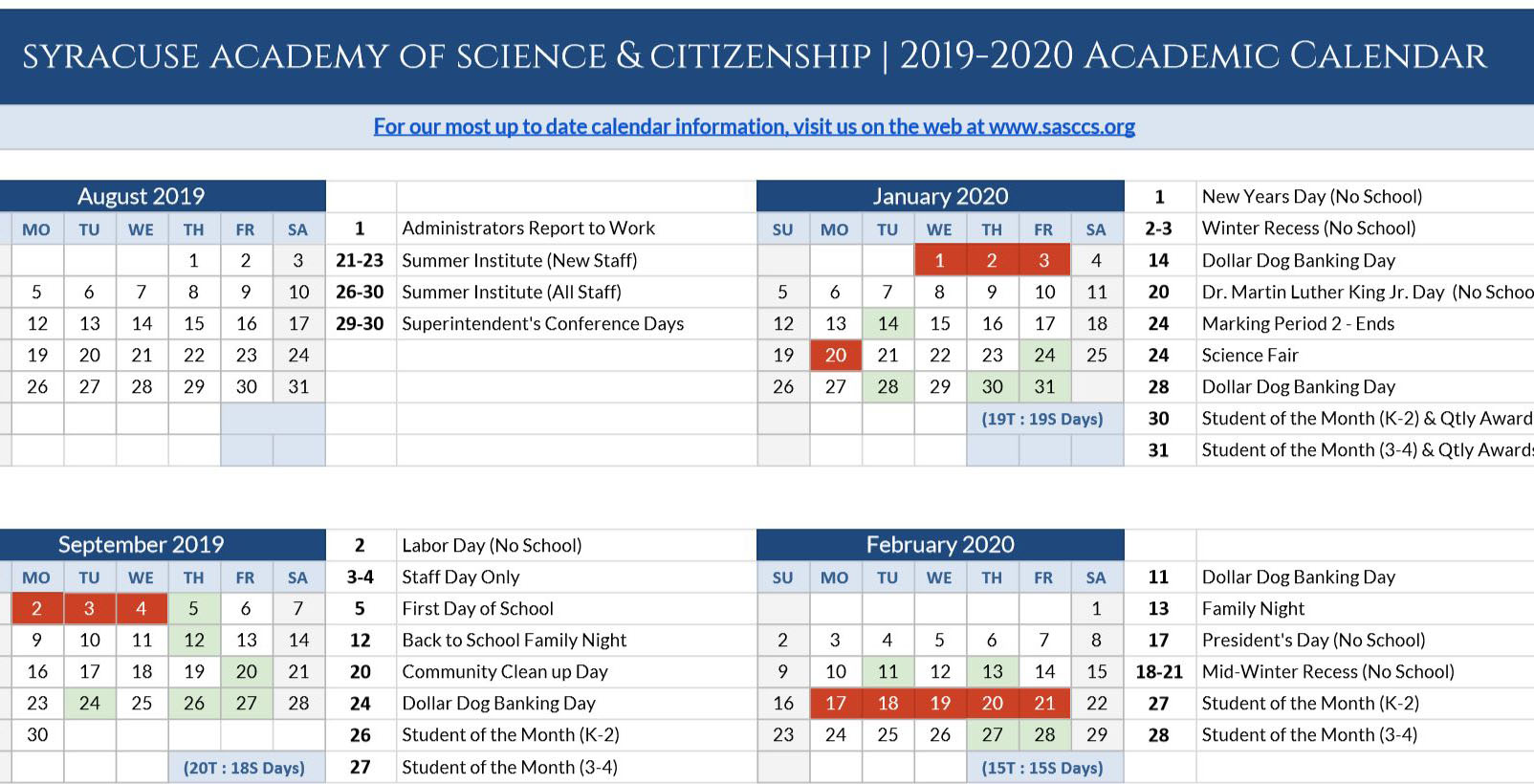 Visit the Academic Calendar page on our website to download a copy of the 2019 - 2020 Academic Calendar