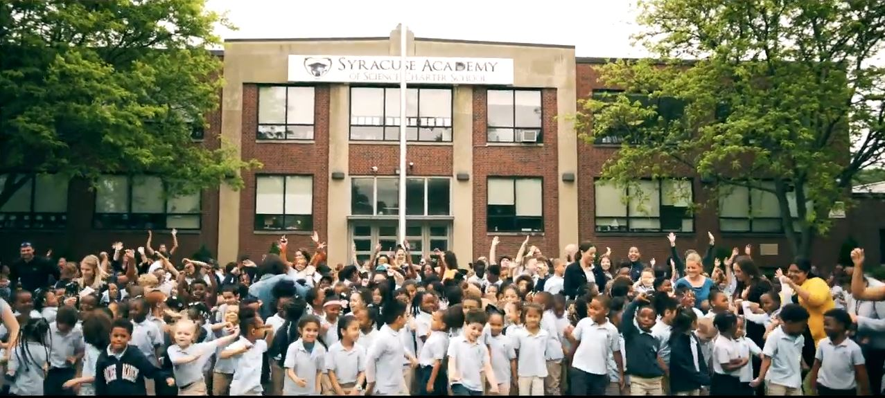Elementary school Atoms participate in the creation of their end of year music video