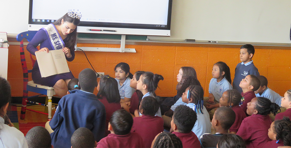 Miss Spirit of New York, Kimberly Geniece, read to the students, The Book with No Pictures by B.J. Novak